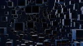 minimalista : motion graphics 3d looped animation as dark background in 4k with simple cubes and with a shifting focus then back and forth, depth of field, bokeh effects. Dark wiggle composition with cubes 8