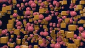 estilizado : motion graphics 3d looped animation as geometric red background in 4k with simple objects and depth of field. Dark composition with many highlights on cubes, spheres. wiggle animation 1 Vídeos
