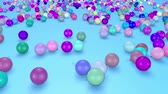 gratulál : christmas balls fall crumble to the surface with depth of field. 3d animation for new year compositions or background. 17 multicolor