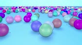interessante : christmas balls fall crumble to the surface with depth of field. 3d animation for new year compositions or background. multicolor 19