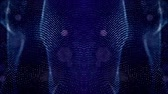 mesmerize : luminous particles like Christmas lights hanging in the air, flying and forming abstract shapes and surfaces. abstract particle background as sci-fi or microcosm, nano world. Blue lines and surface 30
