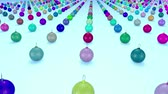 felicitando : christmas balls on surface in a rows. 3d animation for new year compositions or background with depth of field. amera moves smoothly above the surface. Multi colored 17