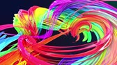 wstążka : colorful stripes in a rainbow in circular formation twist, move in a circle. Seamless creative background, looped 3d smooth animation of bright shiny ribbons curled in circle glitters like glass. 9.
