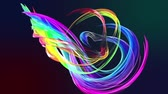 varredura : colorful stripes in a rainbow in circular formation twist, move in a circle. Seamless creative background, looped 3d smooth animation of bright shiny ribbons curled in circle glitters like glass. 12.