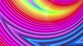 kesintisiz desen : Rainbow multicolored stripes move cyclically. Abstract 3d seamless bright background in 4k. Simple geometry in cartoon creative style. Looped smooth animation. Curves 21