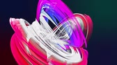 fibra : colorful rainbow stripes twist in a circular formation, move in a circle. Seamless creative background, looped 3d smooth animation of bright shiny ribbons curled in circle glitters like glass. 11