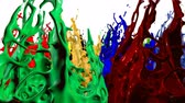 cheerfully : Paints dance on white background. Simulation of 3d splashes of ink on a musical speaker that play music. beautiful splashes as a bright background in ultra high quality 4k. multicolor 6