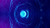 twisted : 4k abstract looped backgrounds with luminous particles with depth of field. Science fiction background. Blue circular structures 2