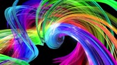 gradient : looped 3d smooth animation of bright shiny ribbons curled in circle glitters like glass. Colorful stripes twist in a circular formation, move in a circle. Seamless creative background. Multicolored 3 Stock Footage