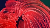 varredura : looped 3d smooth animation of bright shiny ribbons curled in circle glitters like glass. Colorful stripes twist in a circular formation, move in a circle. Seamless creative background. Red 5