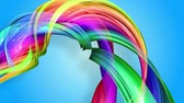 morphing : Rainbow stripes are moving in a circle and twisting as abstract background. 13