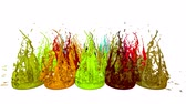 falante : splash of liquid paint on music speaker. 3d animation in 4k. 11