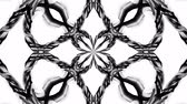 arabesco : 4k loop animation with black and white ribbons are twisting and form complex structures as kaleidoscopic effect. 22