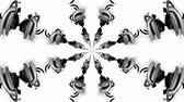 kesintisiz desen : 4k loop animation with black and white ribbons are twisting and form complex structures as kaleidoscopic effect. 30 Stok Video