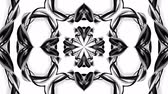 süsleme : 4k loop animation with black and white ribbons are twisting and form complex structures as kaleidoscopic effect. 52 Stok Video