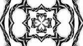 arabesco : 4k loop animation with black and white ribbons are twisting and form complex structures as kaleidoscopic effect. 69