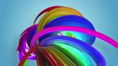 csík : Abstract seamless background with multicolored ribbons. Rainbow stripes are moving in a circle and twisting. 12 Stock mozgókép