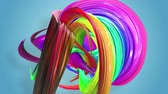 morphing : Abstract seamless background with multicolored ribbons. Rainbow stripes are moving in a circle and twisting. 33