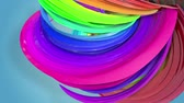 morphing : Abstract seamless background with multicolored ribbons. Rainbow stripes are moving in a circle and twisting. 40 Stock Footage