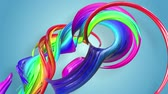 csík : Abstract seamless background with multicolored ribbons. Rainbow stripes are moving in a circle and twisting. 78