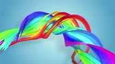 morphing : Abstract seamless background with multicolored ribbons. Rainbow stripes are moving in a circle and twisting. 83