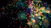 flying sparks : multicolored particles in liquid float and glisten. 4k 3d advection background with glittering particles, depth of field and bokeh isolated on black. Luma matte to cut out particles. 61