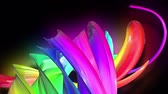 multicolorido : 3d animation stream of colored ribbons fly on black background with neon light. Rainbow gradient on the flow of stripes. Luma matte is included as alpha channel. 4k motion graphics with copy space. 9 Stock Footage