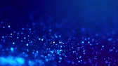 fliege : Magic blue glowing particles flow in viscous liquid and bright glisten. Science fiction. 4k 3d sci-fi background with glittering particles, depth of field and bokeh. Luma matte as alpha channel. 9