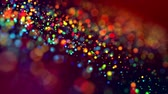 shallow depth of field : multicolored particles like confetti or spangles float in a viscous liquid and glitter in the light with depth of field. 3d abstract animation of particles in 4k. luma matte as the alpha channel. 13