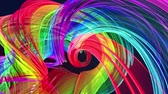ilginç : Abstract lines in motion as seamless creative background. Colorful stripes twist in a circular formation. Looped 3d smooth animation of bright shiny ribbons curled in circle. Multicolored 18 Stok Video