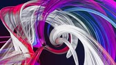 wstążka : Abstract lines in motion as seamless creative background. Colorful stripes twist in a circular formation. Looped 3d smooth animation of bright shiny ribbons curled in circle. Multicolored 16