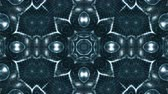 matematik : Microworld, mandala or ornamental neon abstract background. Complex symmetric blue composition with glow particles that form wavy structures like in a kaleidoscope. 4k 3d looped smooth animation. 1