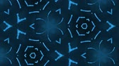 arabesco : complex blue composition of particles that form cells. 3d looped smoothed particles animation with a kaleidoscope effect. Science fiction background, microworld or cyberspace 33