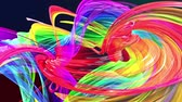 ilginç : Abstract transparent tapes in motion as seamless creative background. Colorful stripes twist in a circular formation. Looped 3d smooth animation of bright shiny ribbons curled in circle. Multicolored Stok Video