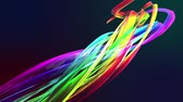 tendência : Abstract transparent tapes in motion as seamless creative background. Colorful stripes twist in a circular formation. Looped 3d smooth animation of bright shiny ribbons curled in circle. Multicolored Stock Footage