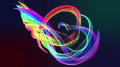 инсультов : Abstract transparent tapes in motion as seamless creative background. Colorful stripes twist in a circular formation. Looped 3d smooth animation of bright shiny ribbons curled in circle. Multicolored Стоковые видеозаписи