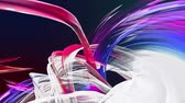 gradient : Abstract transparent tapes in motion as seamless creative background. Colorful stripes twist in a circular formation. Looped 3d smooth animation of bright shiny ribbons curled in circle. Multicolored Stock Footage