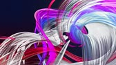 fibra : Abstract transparent tapes in motion as seamless creative background. Colorful stripes twist in a circular formation. Looped 3d smooth animation of bright shiny ribbons curled in circle. Multicolored Filmati Stock