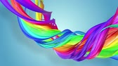 gays : multi-color ribbon is twisted and moves in a circle. Rainbow colored ribbon LGBT symbol animated in motion design with copy space. Looped smooth animation in 4K. Ver 1 Vidéos Libres De Droits