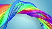 gays : multi-color ribbon is twisted and moves in a circle. Rainbow colored ribbon LGBT symbol animated in motion design with copy space. Looped smooth animation in 4K. Ver 22