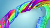 lesbian : multi-color ribbon is twisted and moves in a circle. Rainbow colored ribbon LGBT symbol animated in motion design with copy space. Looped smooth animation in 4K. Ver 23