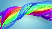 gays : multi-color ribbon is twisted and moves in a circle. Rainbow colored ribbon LGBT symbol animated in motion design with copy space. Looped smooth animation in 4K. Ver 28