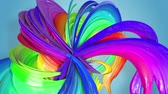 psychedelic colors : multi-color ribbon is twisted and moves in a circle. Rainbow colored ribbon LGBT symbol animated in motion design with copy space. Looped smooth animation in 4K. Ver 37