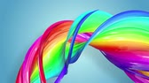 lesbianas : multi-color ribbon is twisted and moves in a circle. Rainbow colored ribbon LGBT symbol animated in motion design with copy space. Looped smooth animation in 4K. Ver 48