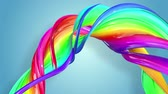 schwul : multi-color ribbon is twisted and moves in a circle. Rainbow colored ribbon LGBT symbol animated in motion design with copy space. Looped smooth animation in 4K. Ver 49 Stock Footage
