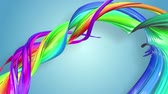 gays : multi-color ribbon is twisted and moves in a circle. Rainbow colored ribbon LGBT symbol animated in motion design with copy space. Looped smooth animation in 4K. Ver 53