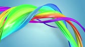 gays : multi-color ribbon is twisted and moves in a circle. Rainbow colored ribbon LGBT symbol animated in motion design with copy space. Looped smooth animation in 4K. Ver 54