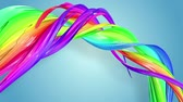 gays : multi-color ribbon is twisted and moves in a circle. Rainbow colored ribbon LGBT symbol animated in motion design with copy space. Looped smooth animation in 4K. Ver 56