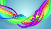 gays : multi-color ribbon is twisted and moves in a circle. Rainbow colored ribbon LGBT symbol animated in motion design with copy space. Looped smooth animation in 4K. Ver 57