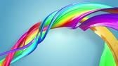 gays : multi-color ribbon is twisted and moves in a circle. Rainbow colored ribbon LGBT symbol animated in motion design with copy space. Looped smooth animation in 4K. Ver 65